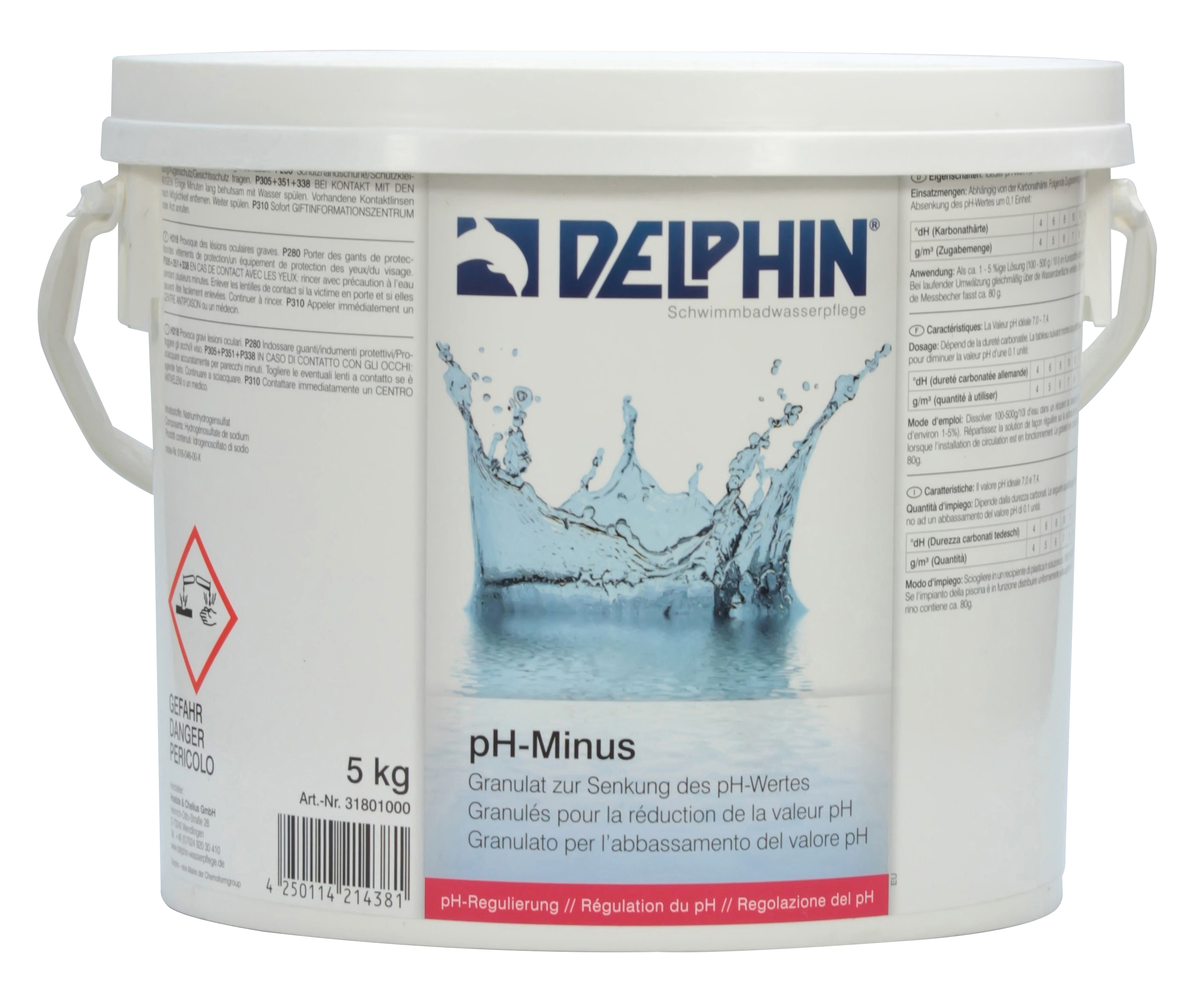 delphin ph minus senker granulat f r schwimmbad und pool. Black Bedroom Furniture Sets. Home Design Ideas